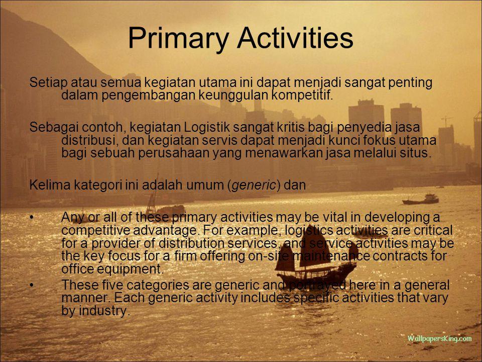 Primary Activities Setiap atau semua kegiatan utama ini dapat menjadi sangat penting dalam pengembangan keunggulan kompetitif.