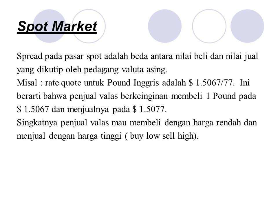 Spot Market Spread pada pasar spot adalah beda antara nilai beli dan nilai jual. yang dikutip oleh pedagang valuta asing.