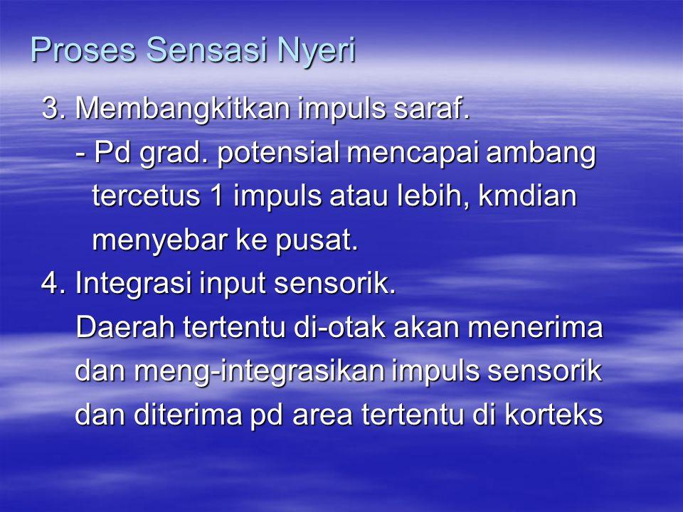 Proses Sensasi Nyeri 3. Membangkitkan impuls saraf.