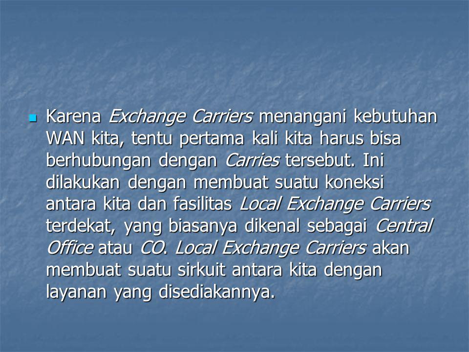 Karena Exchange Carriers menangani kebutuhan WAN kita, tentu pertama kali kita harus bisa berhubungan dengan Carries tersebut.