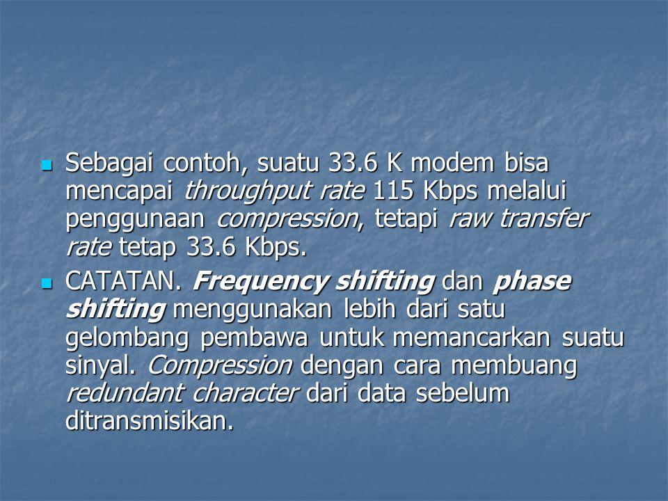 Sebagai contoh, suatu 33.6 K modem bisa mencapai throughput rate 115 Kbps melalui penggunaan compression, tetapi raw transfer rate tetap 33.6 Kbps.