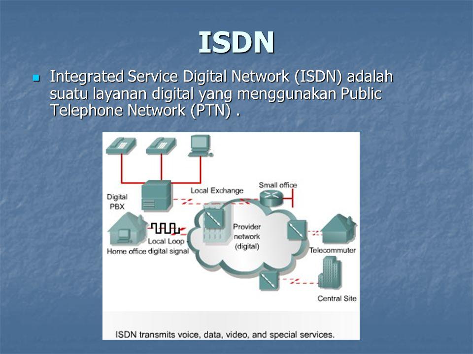 ISDN Integrated Service Digital Network (ISDN) adalah suatu layanan digital yang menggunakan Public Telephone Network (PTN) .