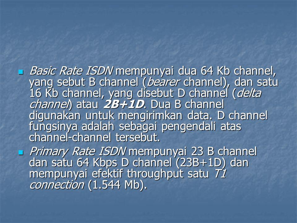 Basic Rate ISDN mempunyai dua 64 Kb channel, yang sebut B channel (bearer channel), dan satu 16 Kb channel, yang disebut D channel (delta channel) atau 2B+1D. Dua B channel digunakan untuk mengirimkan data. D channel fungsinya adalah sebagai pengendali atas channel-channel tersebut.