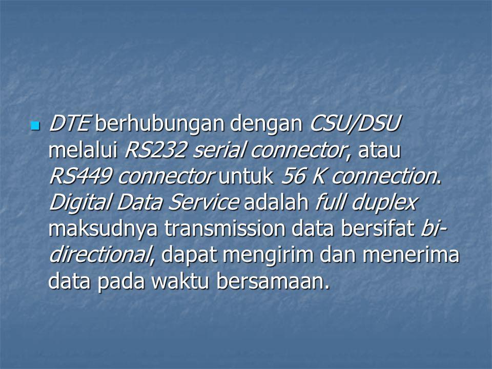 DTE berhubungan dengan CSU/DSU melalui RS232 serial connector, atau RS449 connector untuk 56 K connection.