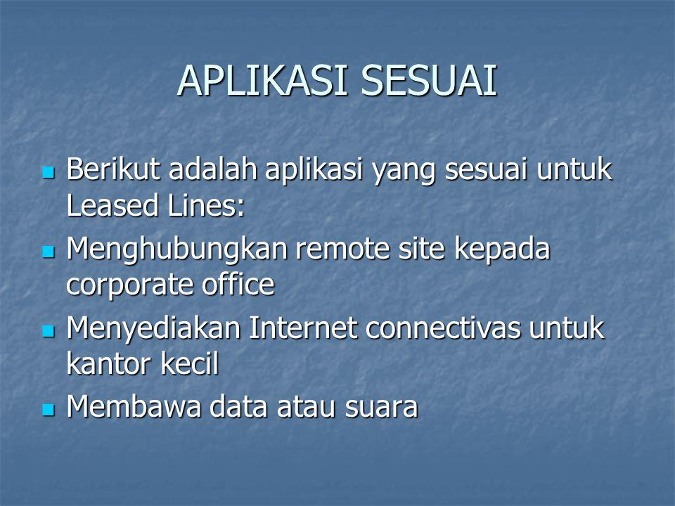 APLIKASI SESUAI Berikut adalah aplikasi yang sesuai untuk Leased Lines: Menghubungkan remote site kepada corporate office.