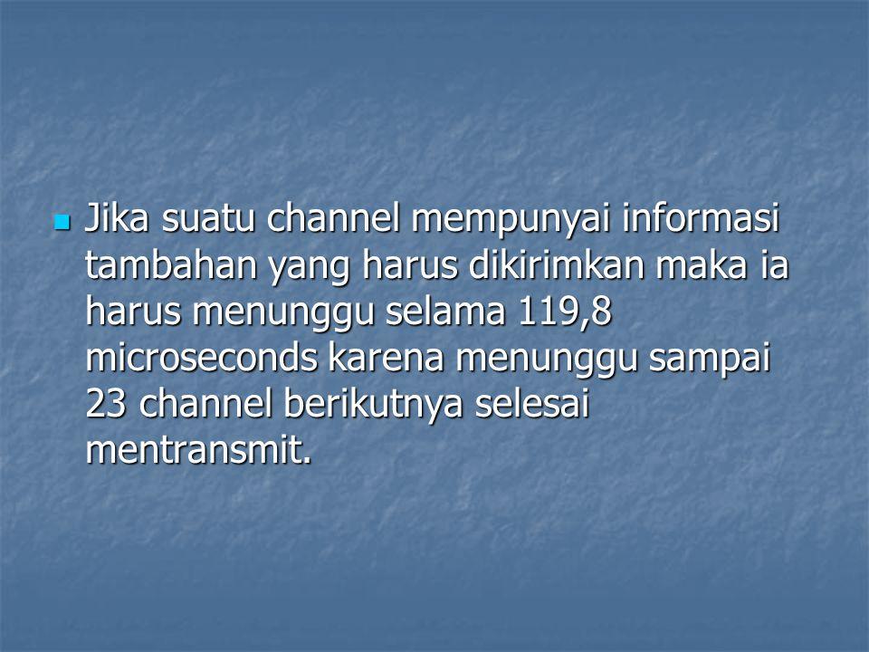 Jika suatu channel mempunyai informasi tambahan yang harus dikirimkan maka ia harus menunggu selama 119,8 microseconds karena menunggu sampai 23 channel berikutnya selesai mentransmit.