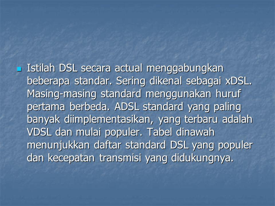 Istilah DSL secara actual menggabungkan beberapa standar