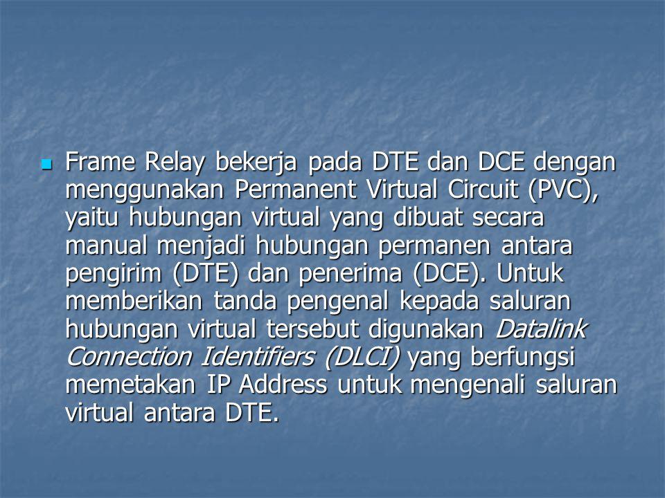 Frame Relay bekerja pada DTE dan DCE dengan menggunakan Permanent Virtual Circuit (PVC), yaitu hubungan virtual yang dibuat secara manual menjadi hubungan permanen antara pengirim (DTE) dan penerima (DCE).