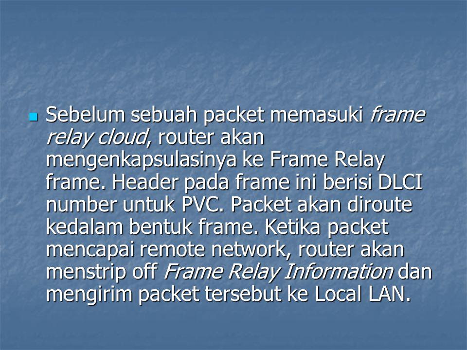 Sebelum sebuah packet memasuki frame relay cloud, router akan mengenkapsulasinya ke Frame Relay frame.