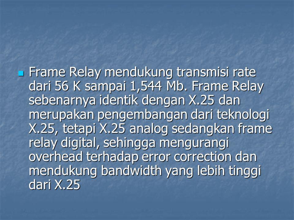 Frame Relay mendukung transmisi rate dari 56 K sampai 1,544 Mb