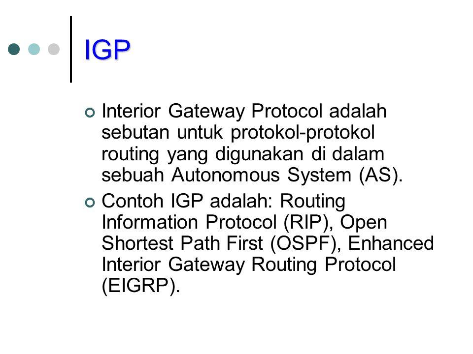 IGP Interior Gateway Protocol adalah sebutan untuk protokol-protokol routing yang digunakan di dalam sebuah Autonomous System (AS).