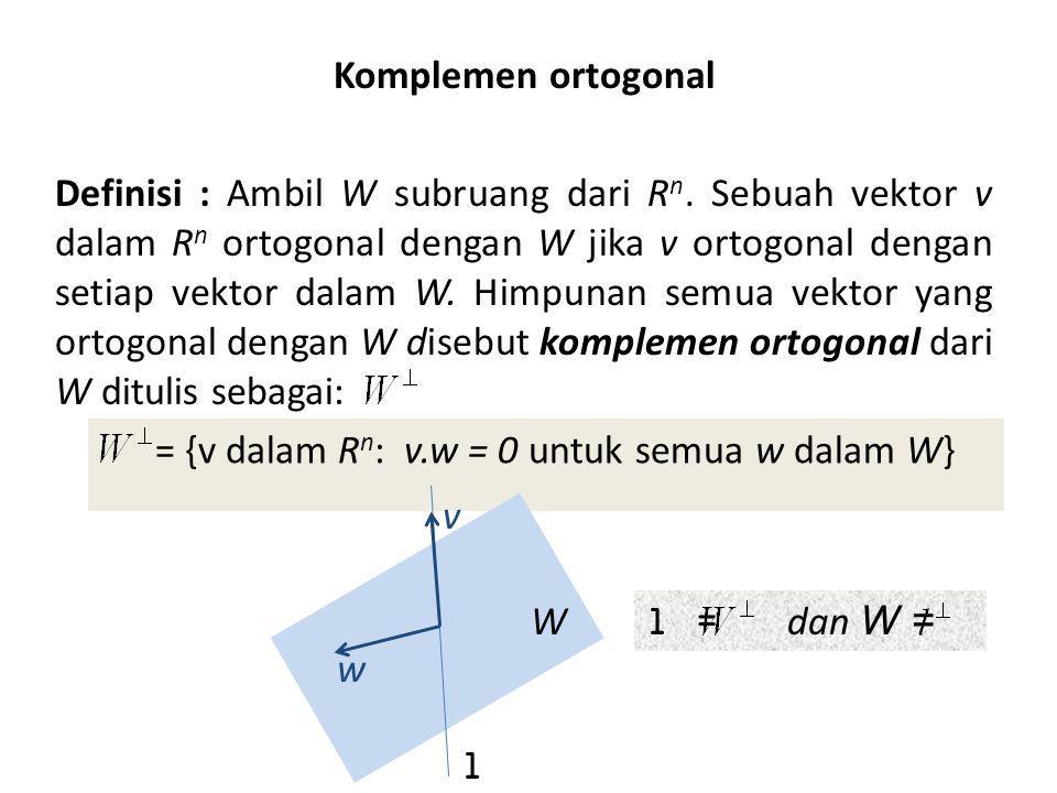 Komplemen ortogonal Definisi : Ambil W subruang dari Rn