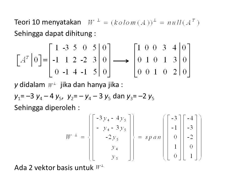 Teori 10 menyatakan Sehingga dapat dihitung : y didalam y1= –3 y4 – 4 y5, y2= – y4 – 3 y5 dan y3= –2 y5 Sehingga diperoleh : Ada 2 vektor basis untuk