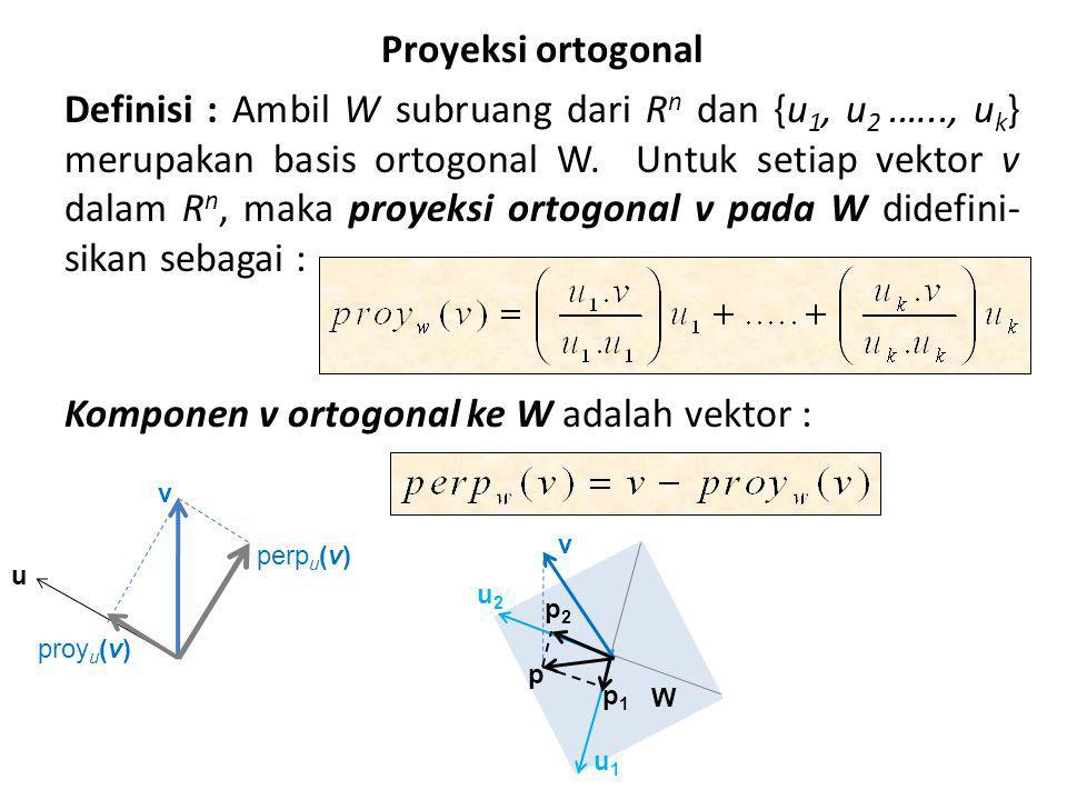 Proyeksi ortogonal Definisi : Ambil W subruang dari Rn dan {u1, u2. …