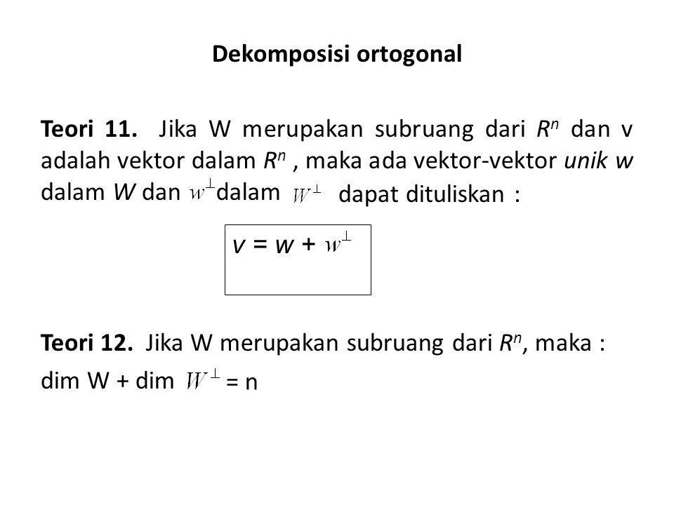 Dekomposisi ortogonal Teori 11