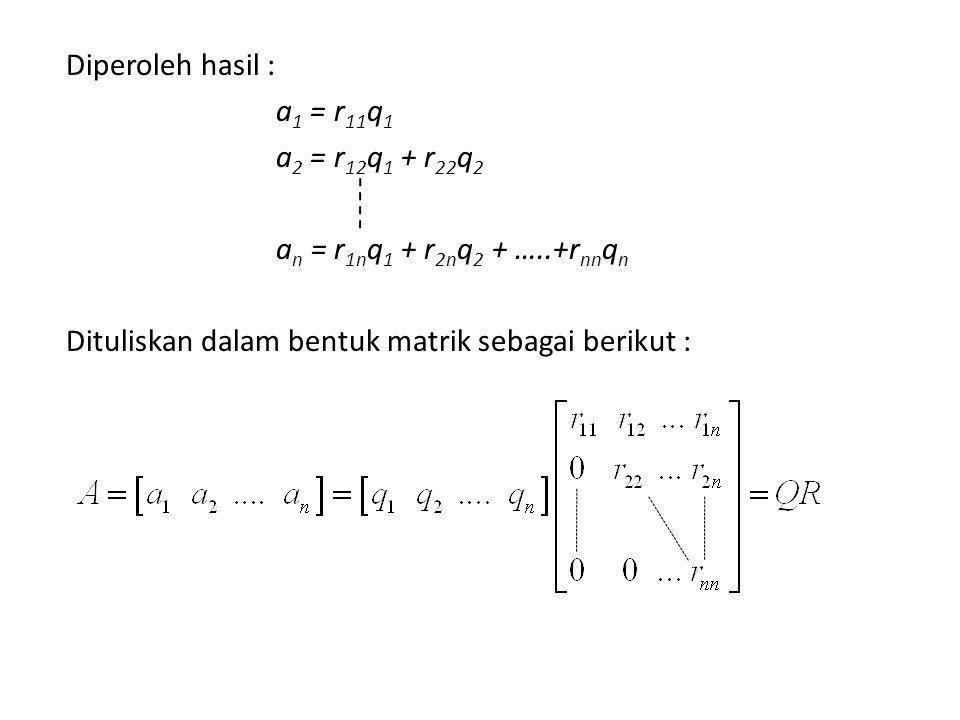 Diperoleh hasil : a1 = r11q1 a2 = r12q1 + r22q2 an = r1nq1 + r2nq2 + …