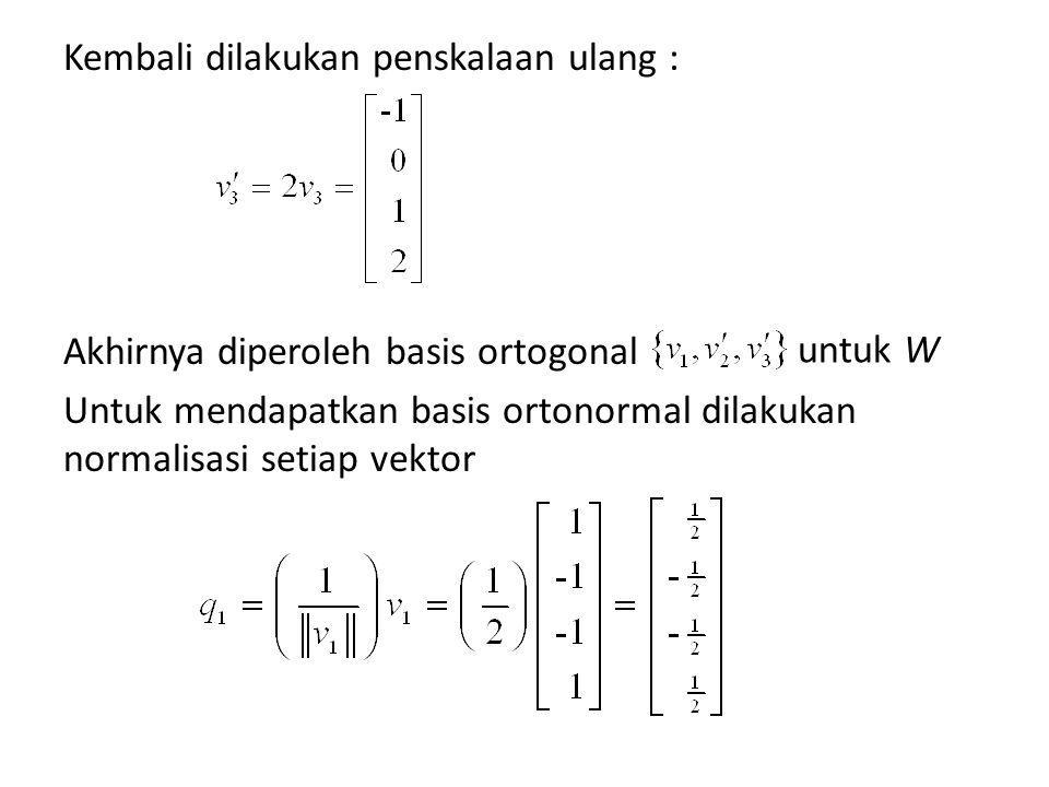 Kembali dilakukan penskalaan ulang : Akhirnya diperoleh basis ortogonal Untuk mendapatkan basis ortonormal dilakukan normalisasi setiap vektor