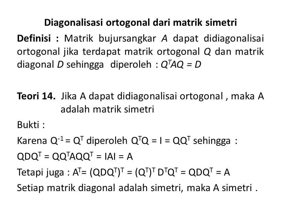 Diagonalisasi ortogonal dari matrik simetri Definisi : Matrik bujursangkar A dapat didiagonalisai ortogonal jika terdapat matrik ortogonal Q dan matrik diagonal D sehingga diperoleh : QTAQ = D Teori 14.