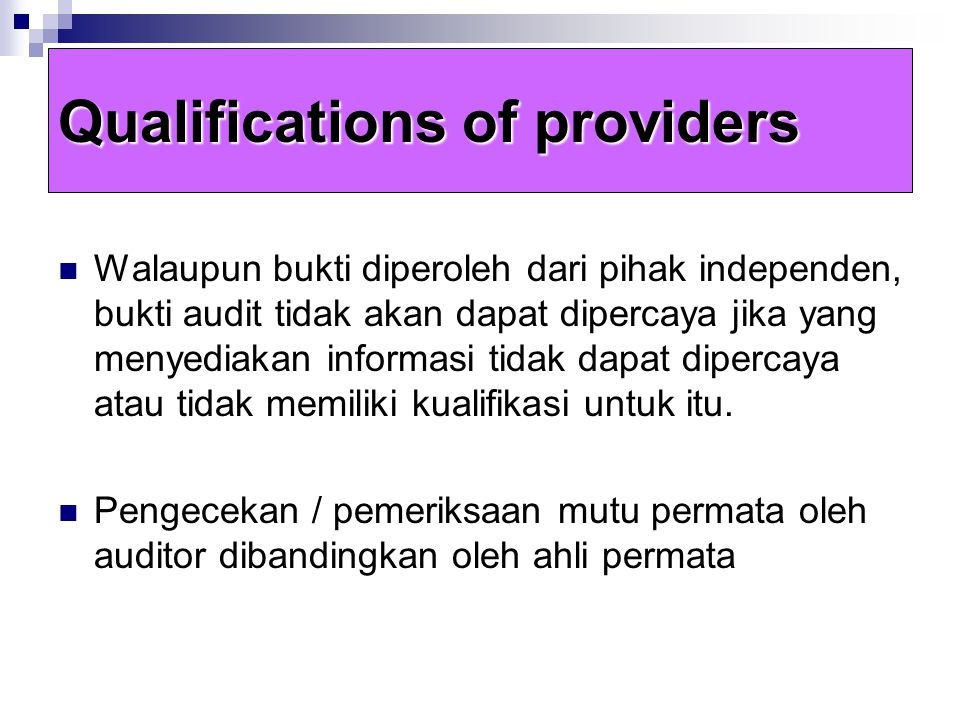 Qualifications of providers
