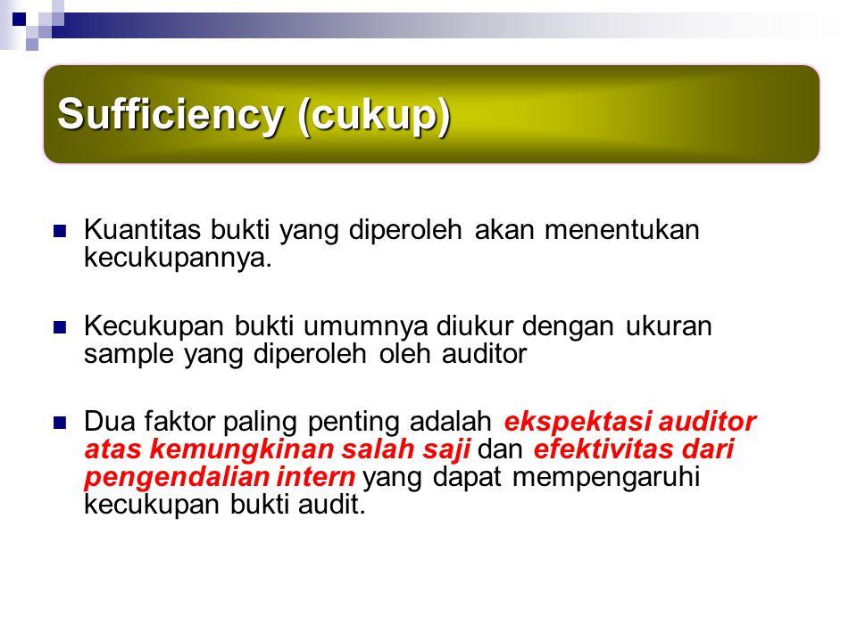 Sufficiency (cukup) Kuantitas bukti yang diperoleh akan menentukan kecukupannya.
