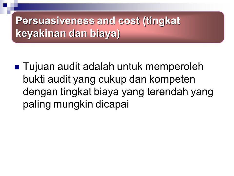 Persuasiveness and cost (tingkat keyakinan dan biaya)