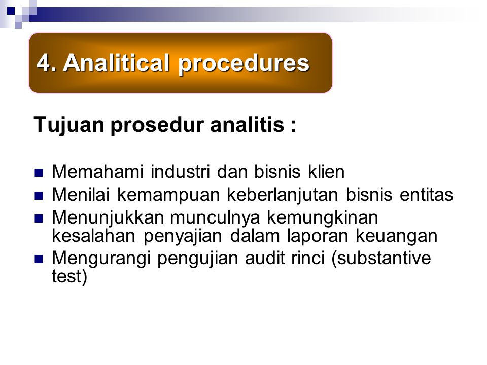 4. Analitical procedures