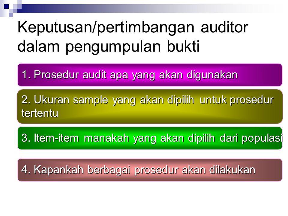 Keputusan/pertimbangan auditor dalam pengumpulan bukti
