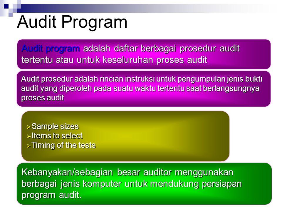 Audit Program Audit program adalah daftar berbagai prosedur audit tertentu atau untuk keseluruhan proses audit.