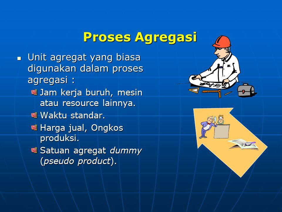 Proses Agregasi Unit agregat yang biasa digunakan dalam proses agregasi : Jam kerja buruh, mesin atau resource lainnya.