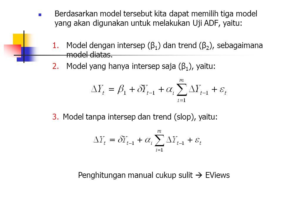 Berdasarkan model tersebut kita dapat memilih tiga model yang akan digunakan untuk melakukan Uji ADF, yaitu: