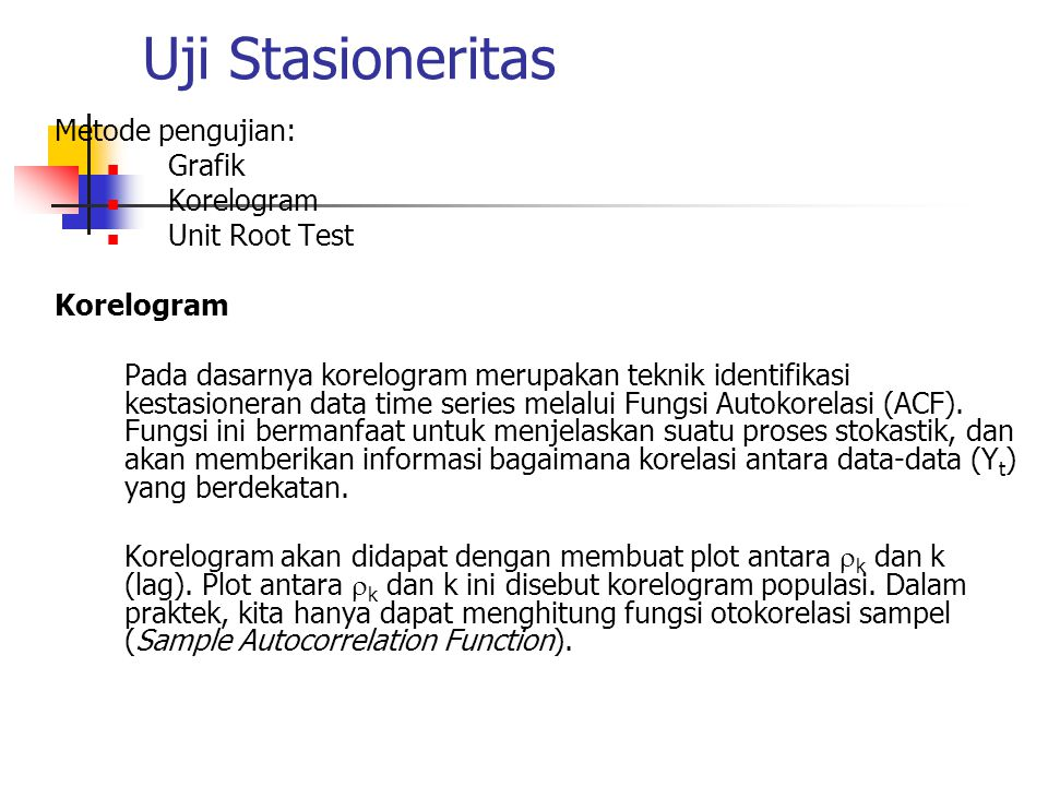 Uji Stasioneritas Metode pengujian: Grafik Korelogram Unit Root Test