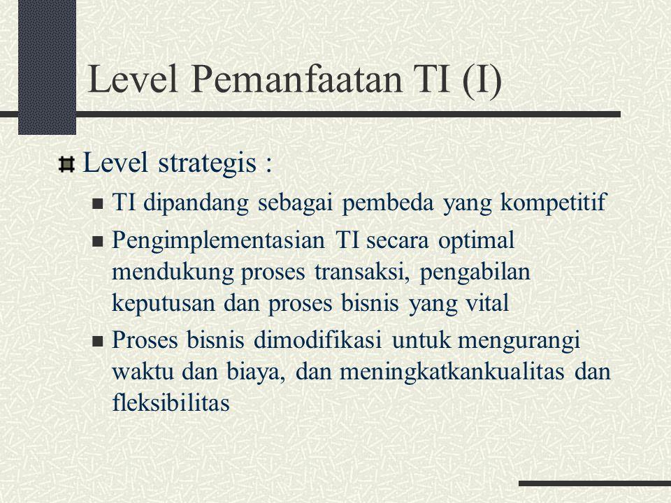 Level Pemanfaatan TI (I)