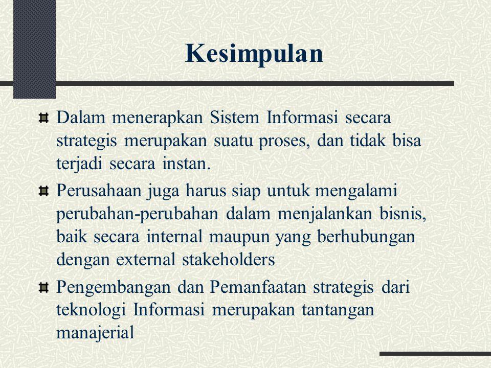 Kesimpulan Dalam menerapkan Sistem Informasi secara strategis merupakan suatu proses, dan tidak bisa terjadi secara instan.