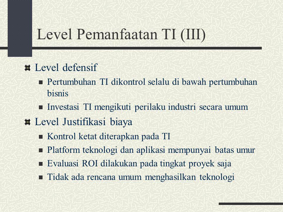 Level Pemanfaatan TI (III)