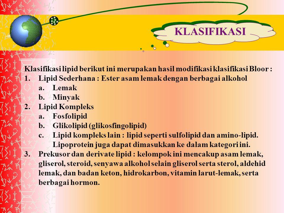 KLASIFIKASI Klasifikasi lipid berikut ini merupakan hasil modifikasi klasifikasi Bloor : Lipid Sederhana : Ester asam lemak dengan berbagai alkohol.