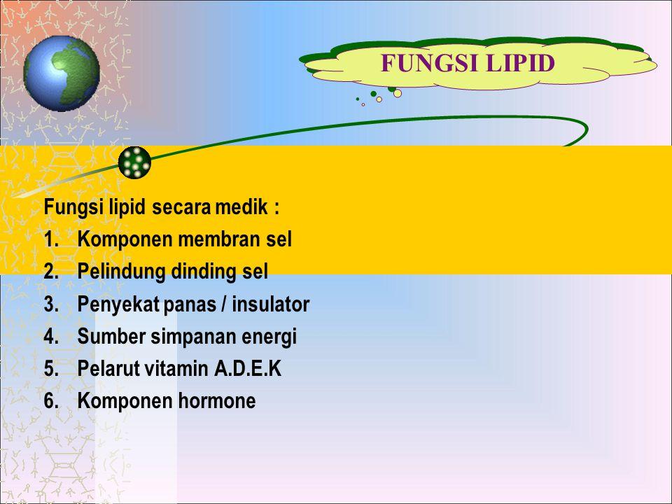 FUNGSI LIPID Fungsi lipid secara medik : Komponen membran sel