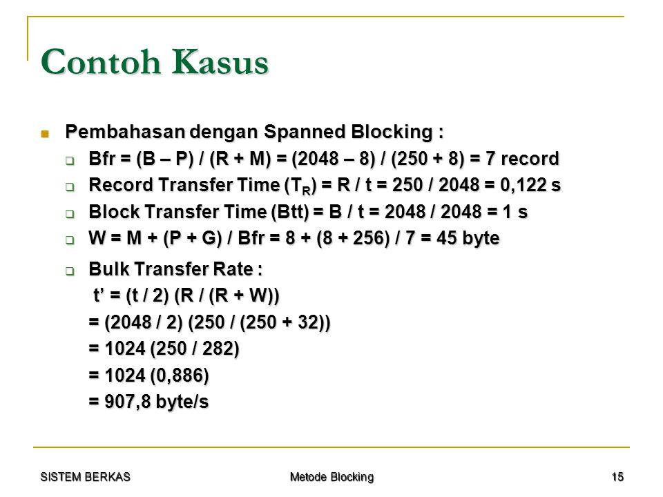 Contoh Kasus Pembahasan dengan Spanned Blocking :