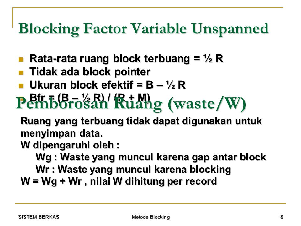Blocking Factor Variable Unspanned