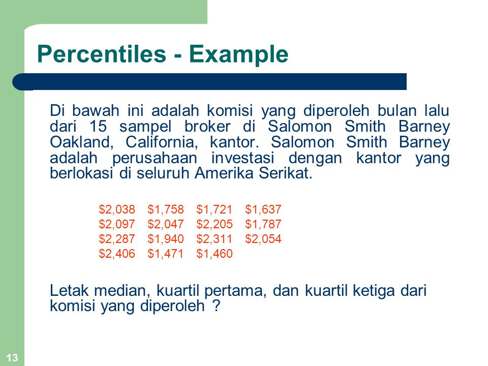 Percentiles - Example