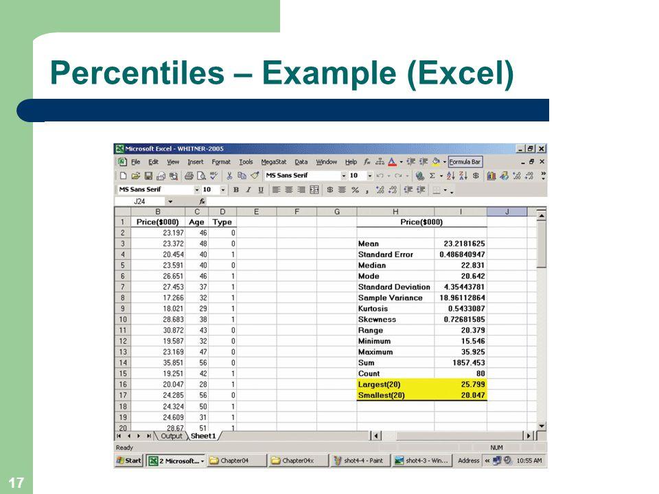 Percentiles – Example (Excel)