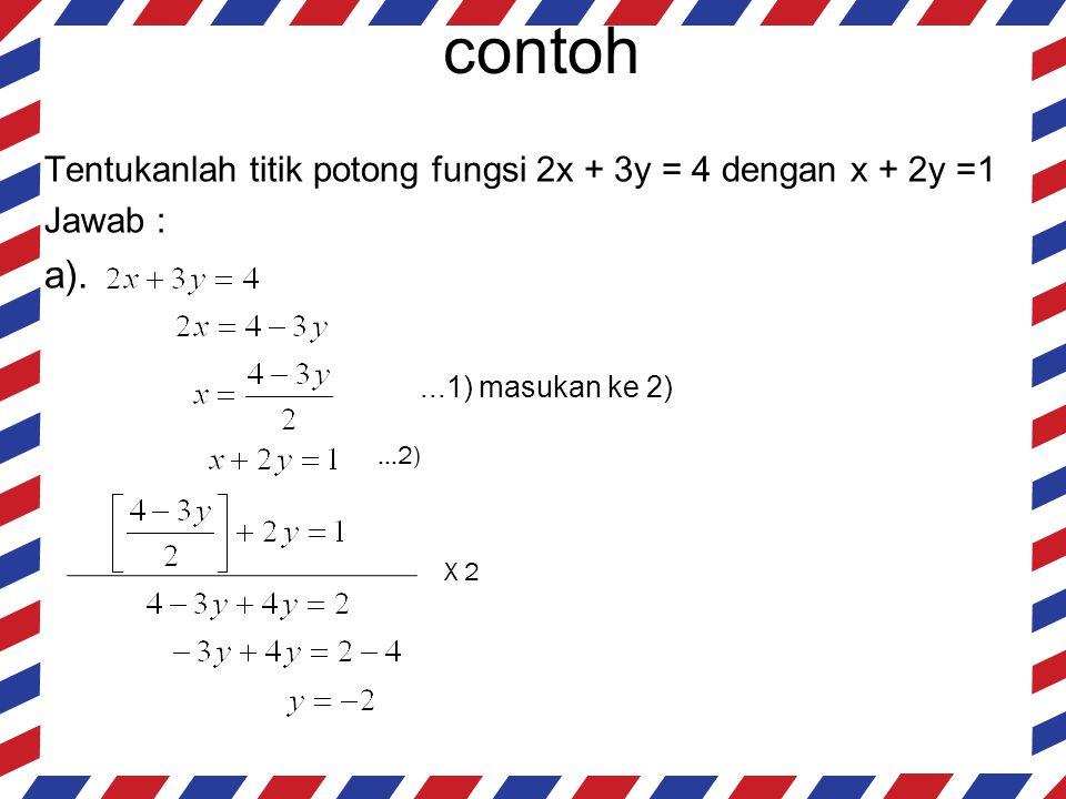 contoh Tentukanlah titik potong fungsi 2x + 3y = 4 dengan x + 2y =1. Jawab : a). ...1) masukan ke 2)