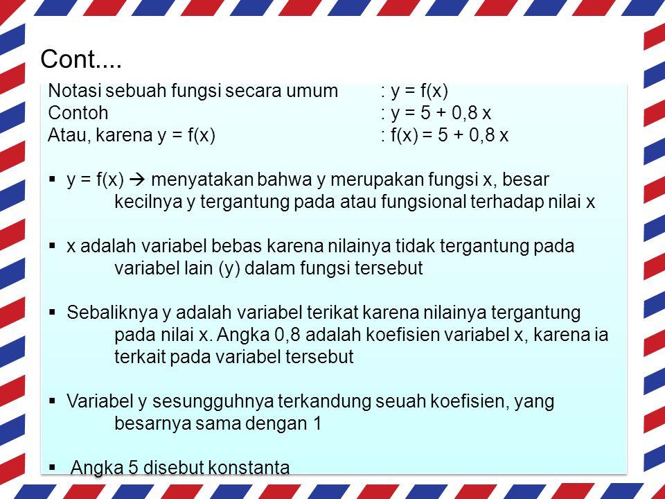Cont.... Notasi sebuah fungsi secara umum : y = f(x)