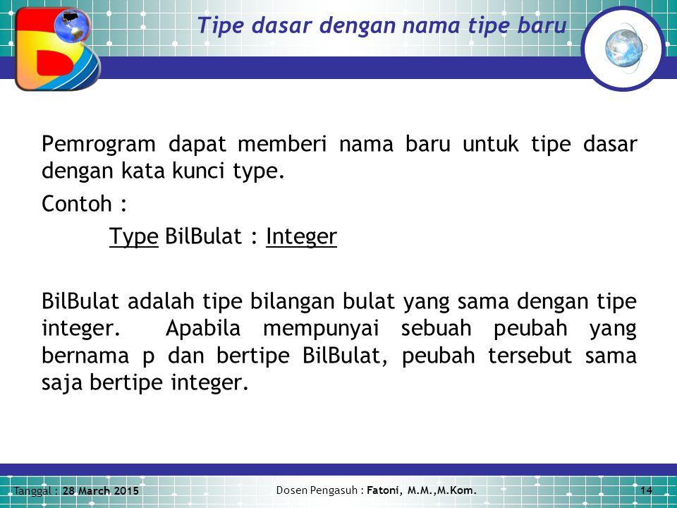 Tipe dasar dengan nama tipe baru
