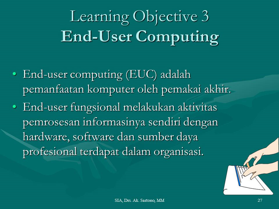 Learning Objective 3 End-User Computing