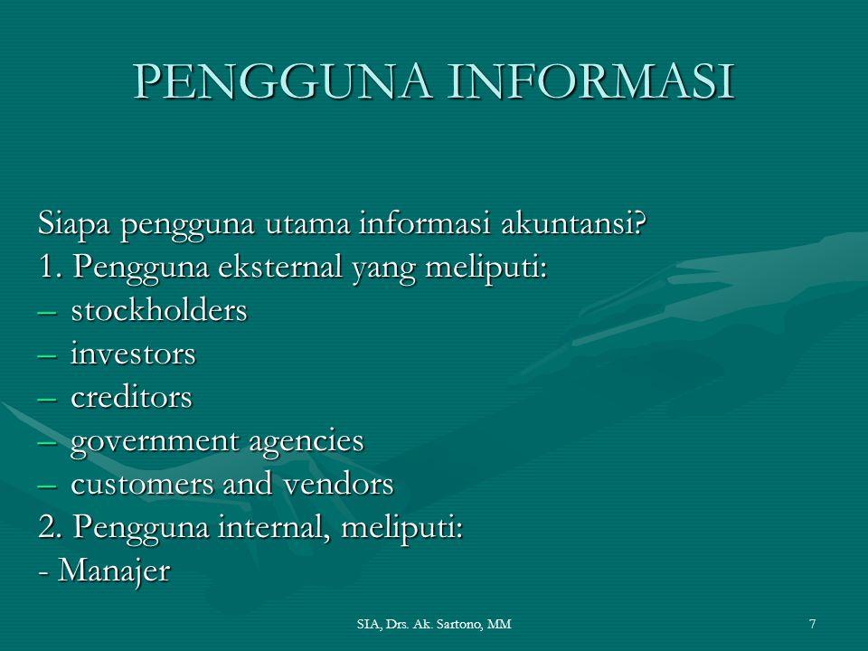 PENGGUNA INFORMASI Siapa pengguna utama informasi akuntansi