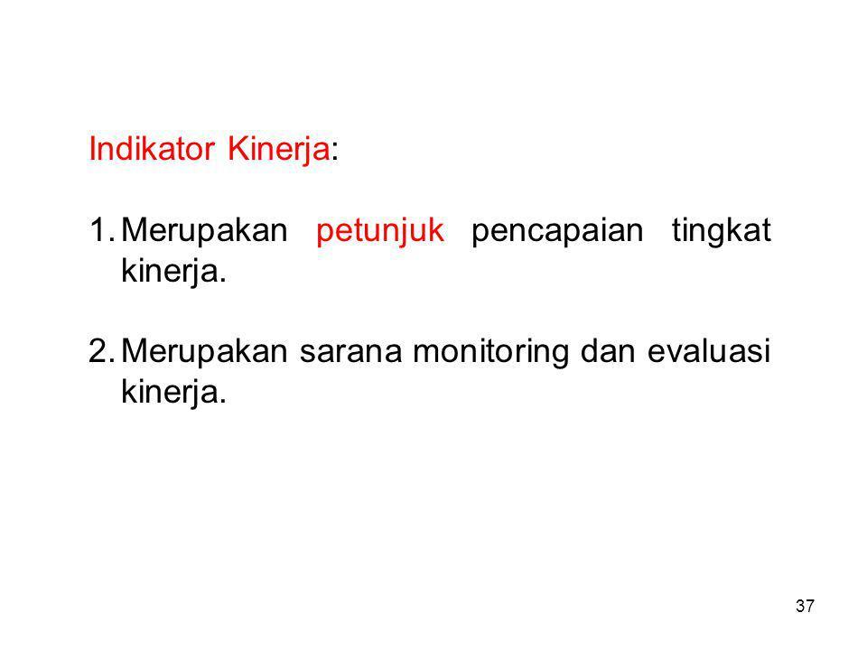 Indikator Kinerja: Merupakan petunjuk pencapaian tingkat kinerja.