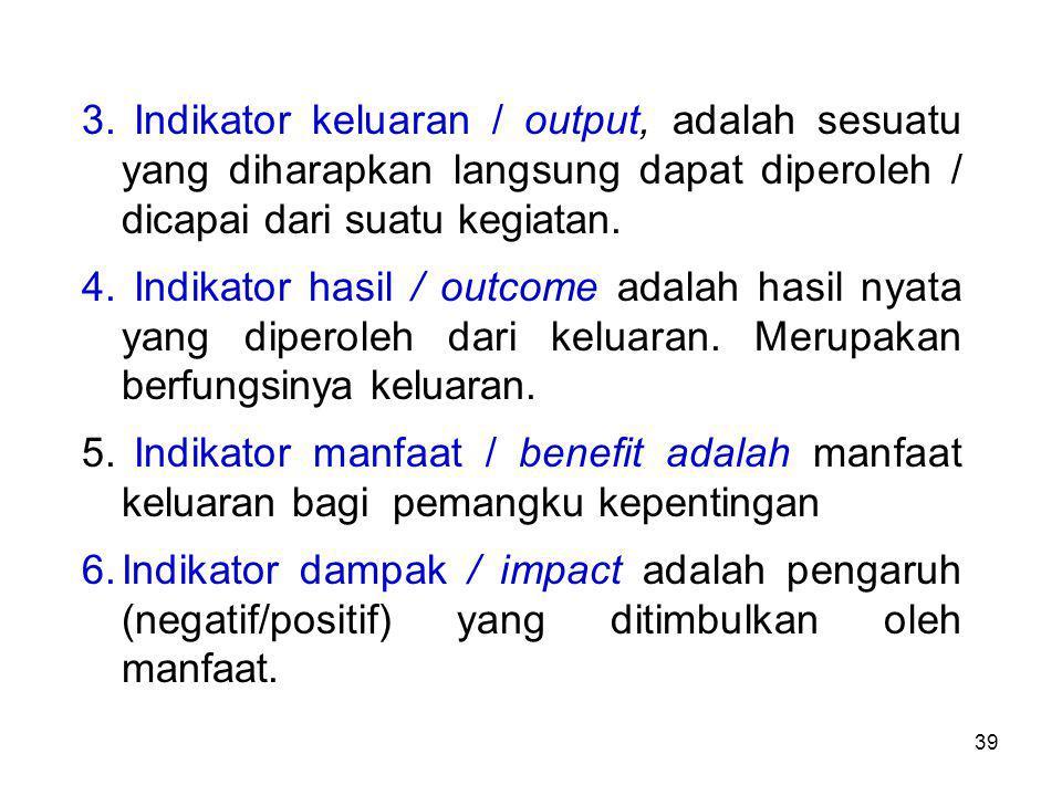 Indikator keluaran / output, adalah sesuatu yang diharapkan langsung dapat diperoleh / dicapai dari suatu kegiatan.