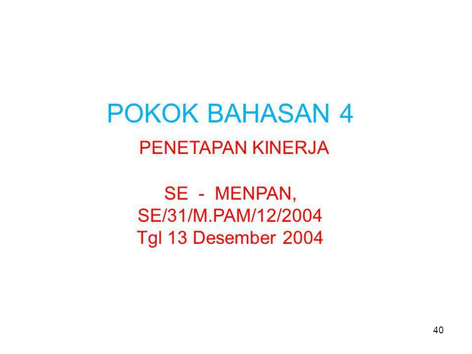 POKOK BAHASAN 4 PENETAPAN KINERJA SE - MENPAN, SE/31/M.PAM/12/2004