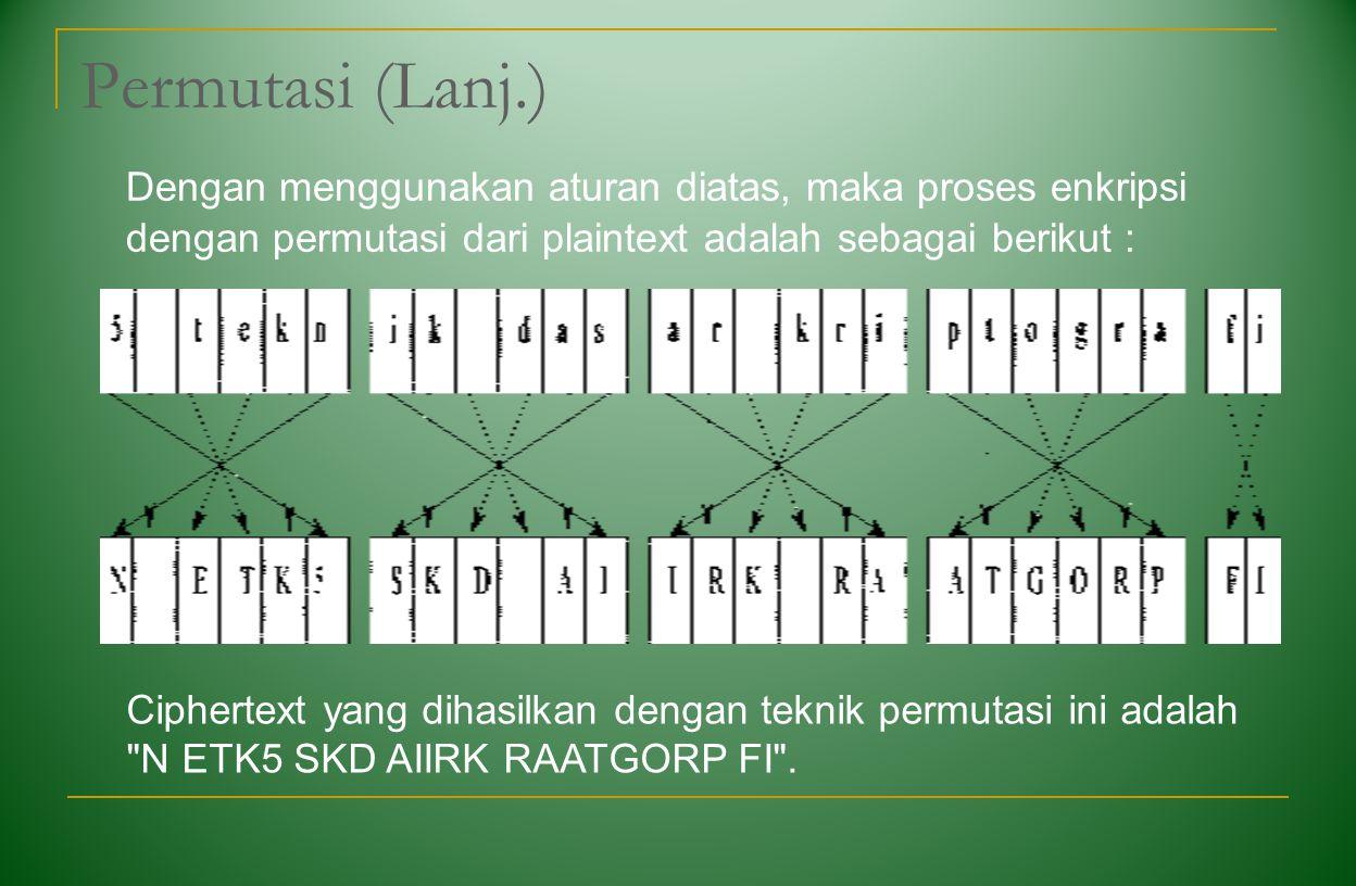 Permutasi (Lanj.) Dengan menggunakan aturan diatas, maka proses enkripsi dengan permutasi dari plaintext adalah sebagai berikut :