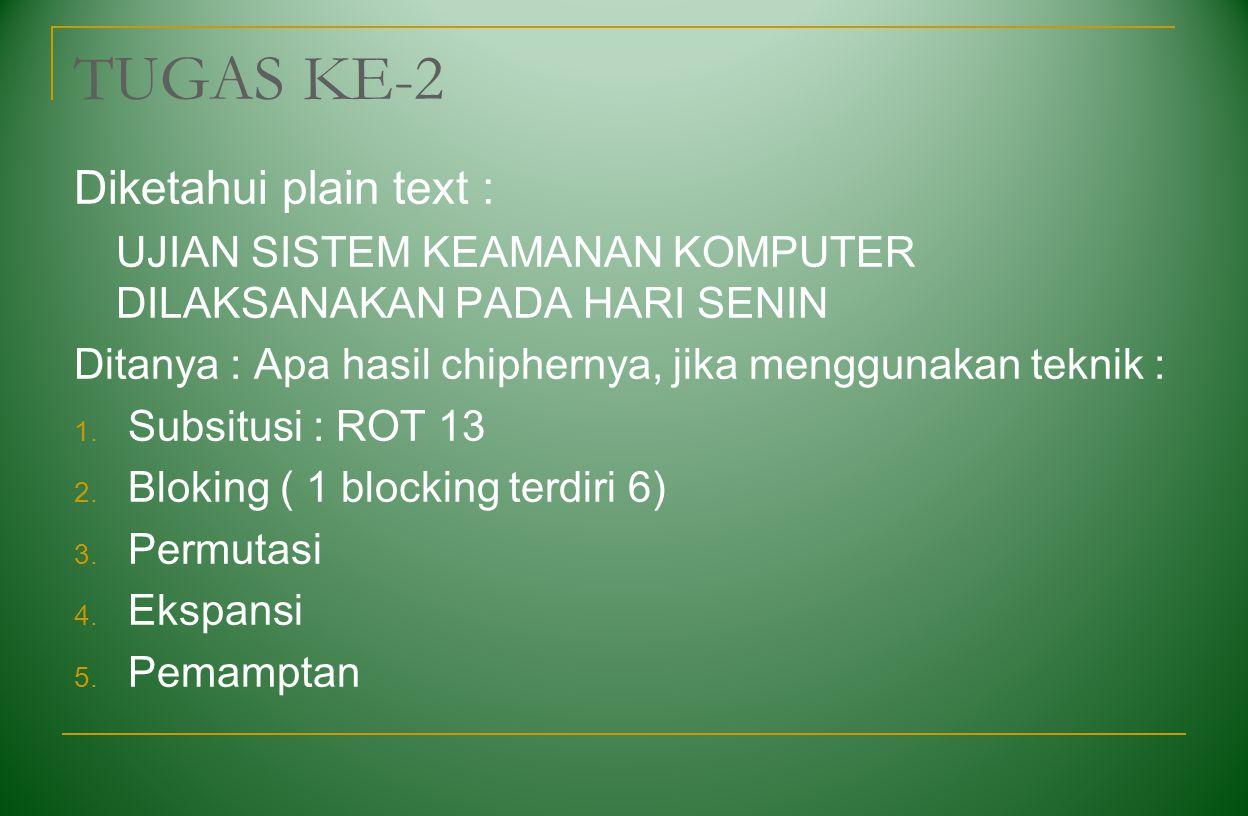 TUGAS KE-2 Diketahui plain text :